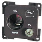 PRESA 12VAUTO+TV (PRESA 12V ACCENDISIGARI+TV 9,5 75OHM) MARRONE MP12ATV/M